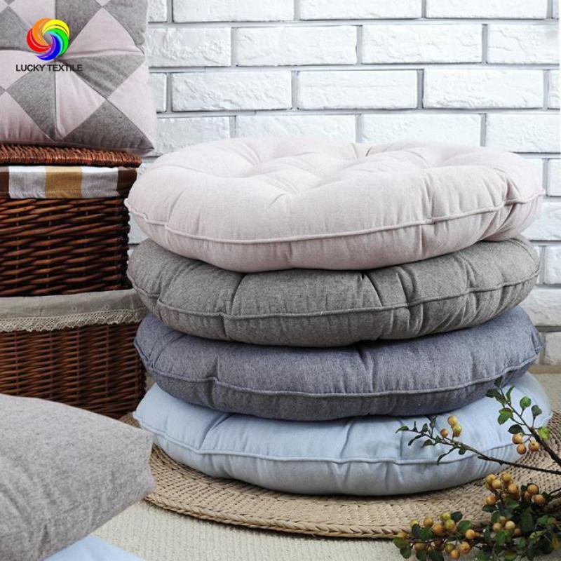 Seat cushion Japan style 55*55cm Cotton Seat Cushion Gray big Round Cushions for Futon Yoga Floor Tatami Chair Sofa Home Decor