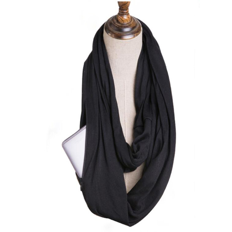 Four Seasons Unisex Convertible Journey Infinity Scarf With Zipper Pocket Multifunction Fashion Scarf
