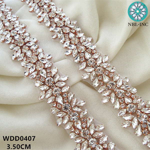 (10 YARDS)Wholesale bridal beaded rose gold crystal rhinestone applique  trim iron on for wedding dress sash belt WDD0278 Rose-in Rhinestones from  Home ... 0fba22cc929d