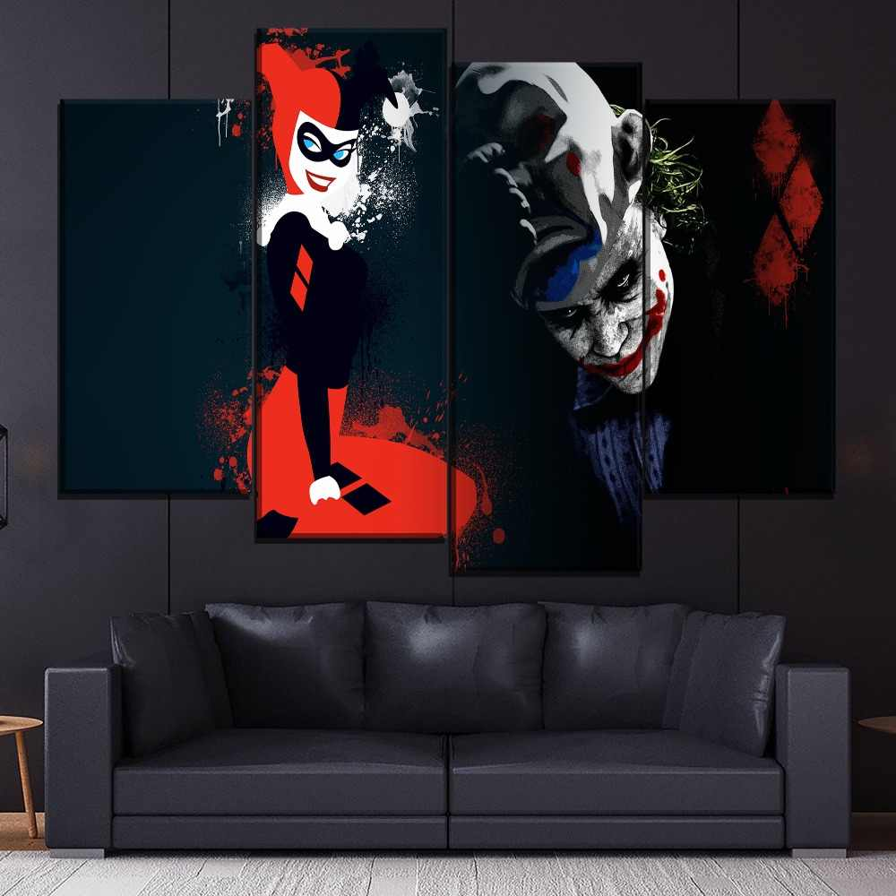 Joker And Comic Harley Quinn Painting 4 Piece Style Picture Canvas Printing Type Modern Home Decorative Wall Artwork Poster
