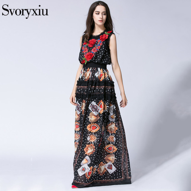 1cab0051a1aba Runway Designer BOHO Long Dress Women Sleeveless Bloom Embroidery ...