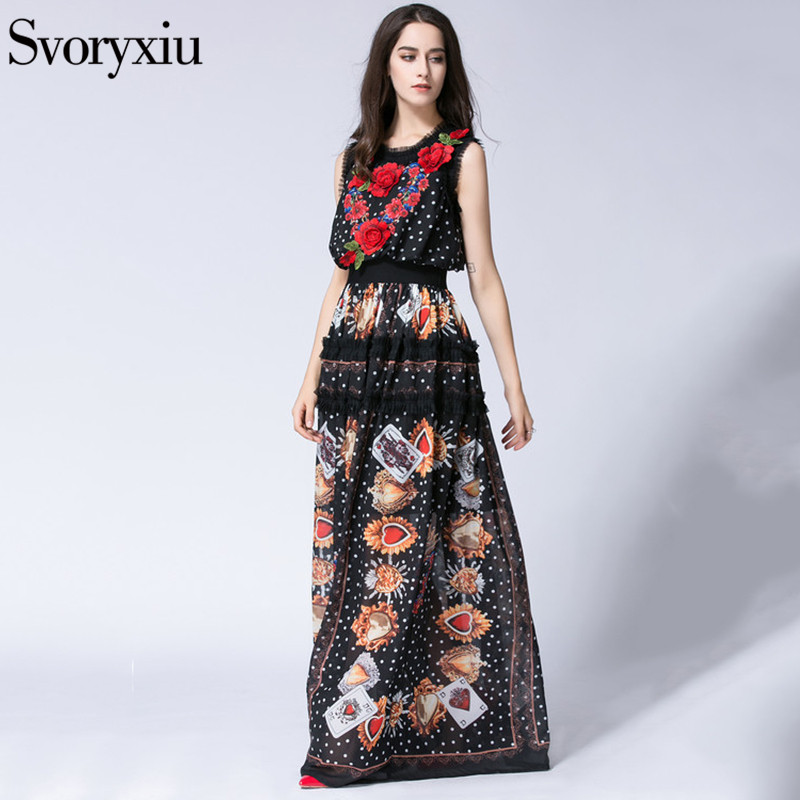 SVORYXIU Runway Designer lato długa sukienka boho kobiety wysokiej jakości bez rękawów kwiat haft piętro długość sukienka w Suknie od Odzież damska na  Grupa 3