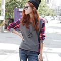 Women Casual Crew Neck Shirt Tops Plaids Check Blouse Long Sleeve Blouse Free Shipping