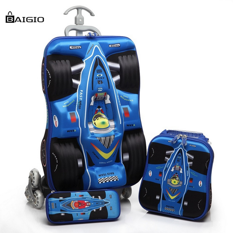 Baigio Kids Travel Luggage Set EVA Durable Carry on Suitcase Rolling Luggages for Children Boys Lightweight 3D Car COOL Gift