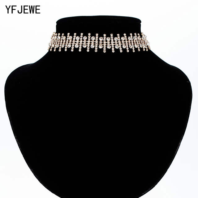 YFJEWE Women Irregularly Arranged Fences Clavicle Necklaces Choker Necklace Rhinestone Pendant Jewelry Collar Necklace N368