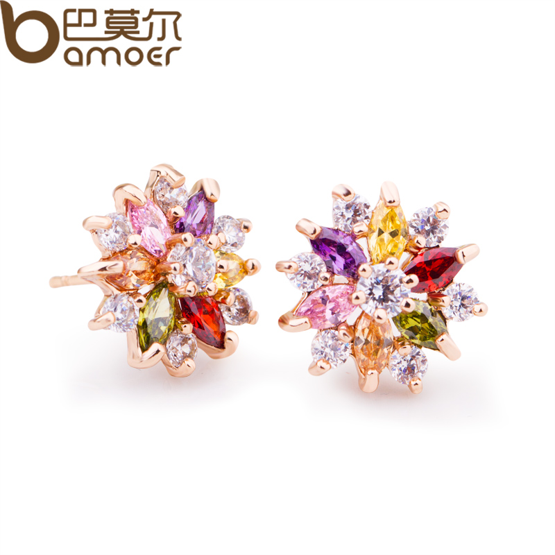 BAMOER Gold Color Gold Star Stud Earrings with Multicolor Zircon Stone For Women Birthday Gift Jewelry JIE018