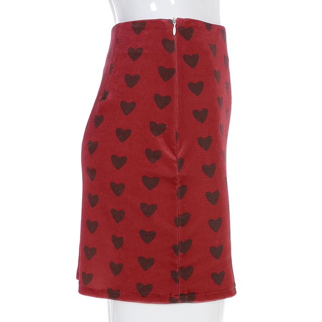 Sweetown Red Velvet High Waist Skirt Streetwear Heart Print Zipper Cute Skirts Womens Preppy Style A-Line Mini Skirt Harajuku 5