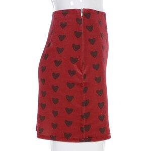Image 5 - Sweetown Red Velvet High Waist Skirt Streetwear Heart Print Zipper Cute Skirts Womens Preppy Style A Line Mini Skirt Harajuku