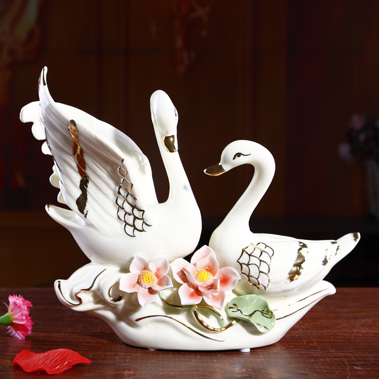 Contracted S Swan Wedding Furnishing Articles Marriage Room Decoration Home Gift In Figurines Miniatures From Garden On
