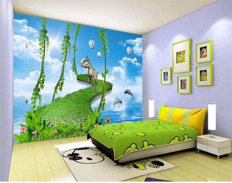 US $13.95 53% OFF|Benutzerdefinierte 3d fototapete kinderzimmer mural  dinosaurier delphin ballons foto malerei tv hintergrund vliestapete für  wand ...