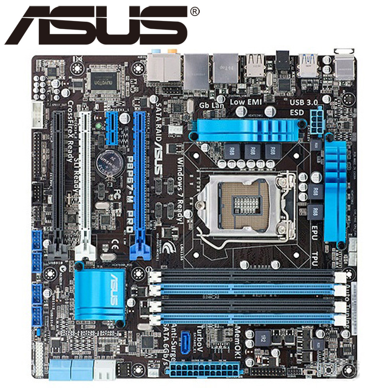 Asus P8P67-M PRO Desktop Motherboard P67 Socket LGA 1155 i3 i5 i7 DDR3 32G u ATX UEFI BIOS Original Used Mainboard On Sale asus p8h61 m le desktop motherboard h61 socket lga 1155 i3 i5 i7 ddr3 16g uatx uefi bios original used mainboard on sale