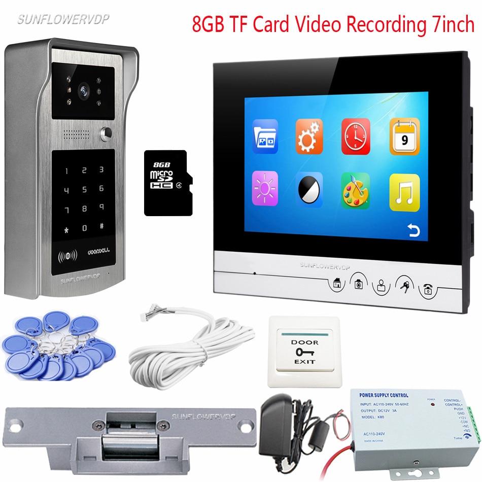 Intercom Electronic Video Recording 8GB TF Card Video Doorbell Password Rfid IP55 Waterproof Security Camera With Door Lock