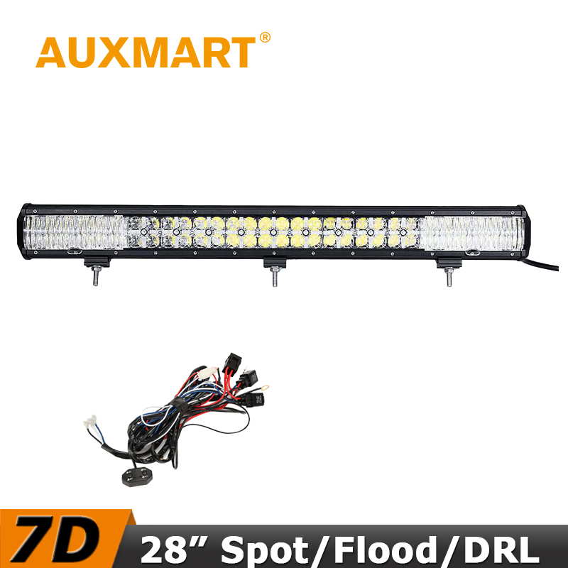Auxmart 300W LED Light Bar 28 inch 7D CREE Chips Offroad Driving LED Bar Cross DRL Combo Beam Fit Truck RZR ATV 4x4 Tractor
