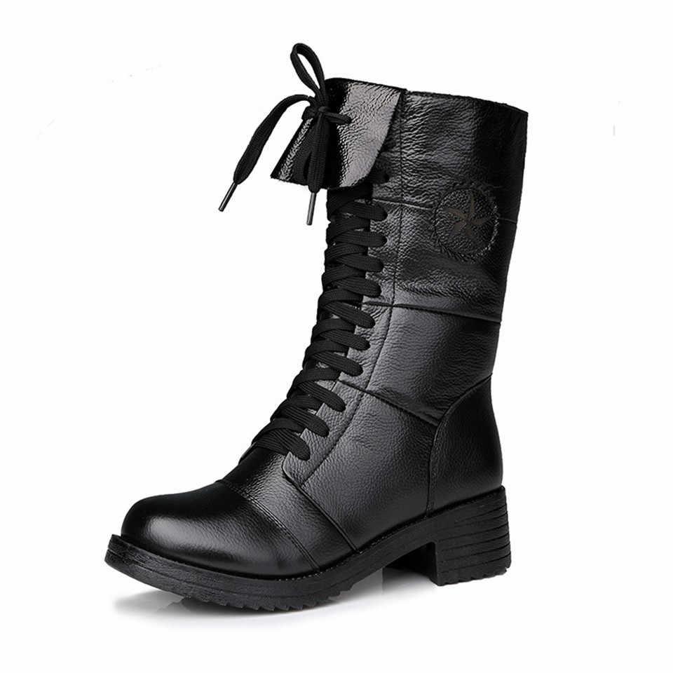 ฤดูหนาวรองเท้าหนัง 2019 สตรี Faux หนังสบายใหม่ Botas Femininas รองเท้าแพลตฟอร์มแคชเมียร์หนาด้านล่างหญิงรองเท้า