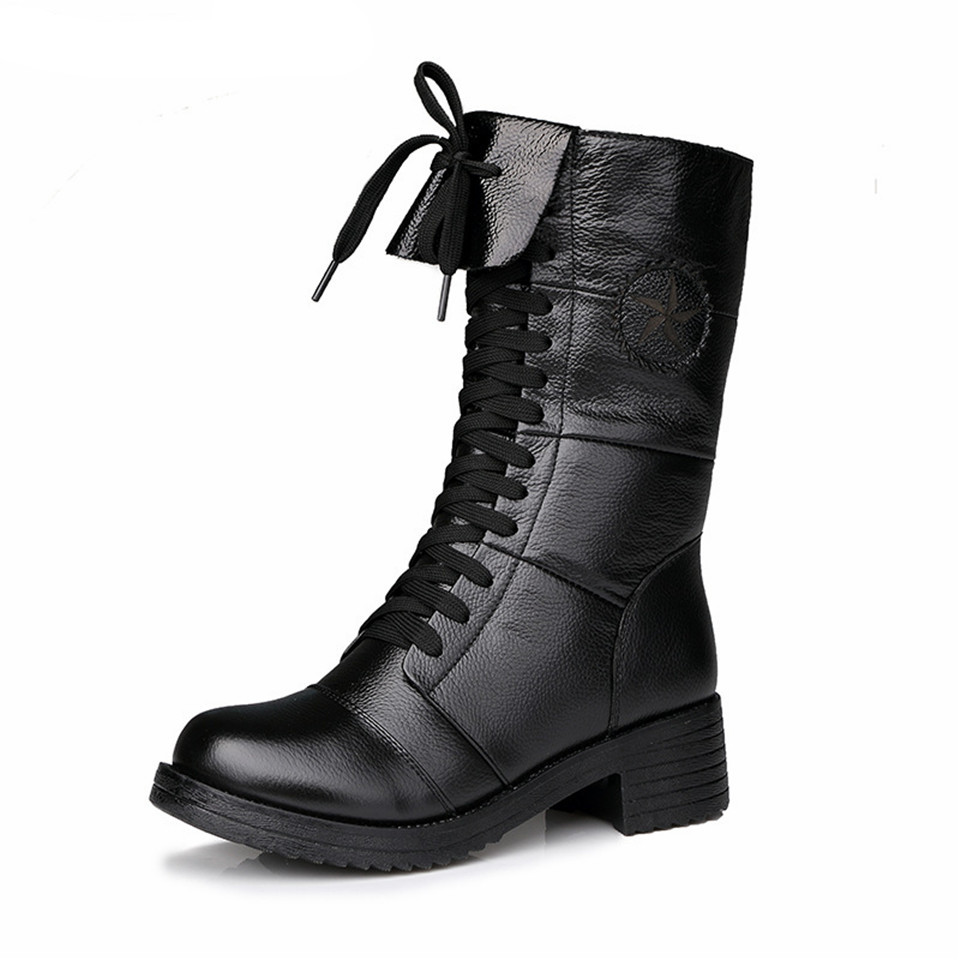 Winter Leather Boots 2017 Womens Faux Leather Comfortable New Botas Femininas Boots Platform Cashmere Thick Bottom Female Boots женские блузки и рубашки hi holiday roupas femininas blusa blusas femininas
