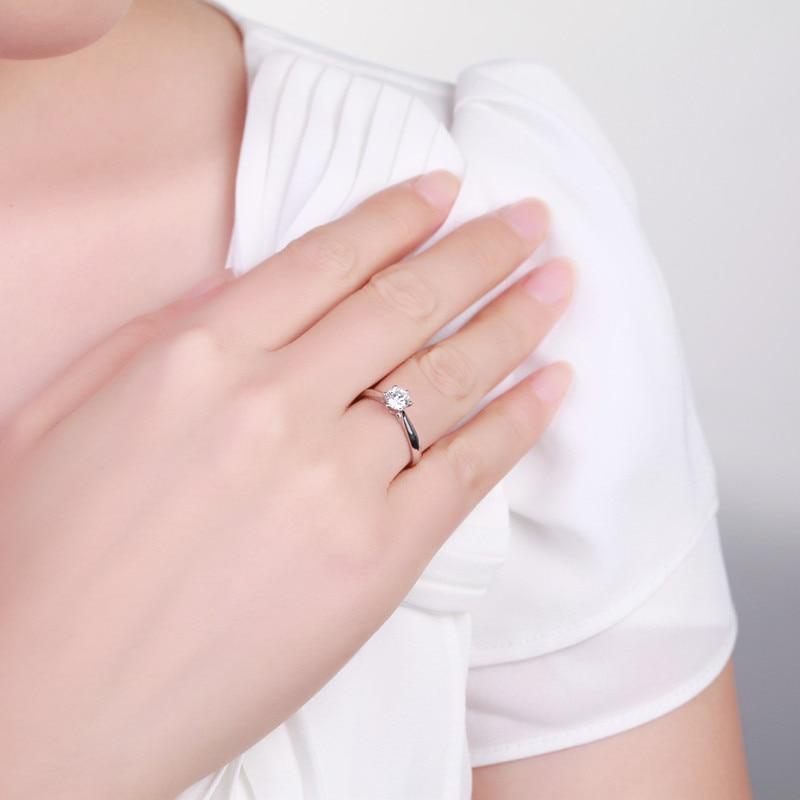 ZOCAI Abad Klasik Nyata 0.18 CT D-E / SI Berlian Engagement Wanita - Perhiasan bagus - Foto 6