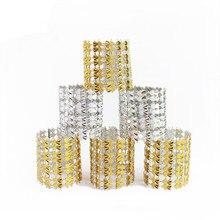 50Pcs/lot 8Rows Gold/Silver Pyramid Double Heart Napkin Ring Diamond Rhinestone Wedding Chair Sashes Bows Holder DIY Decoration