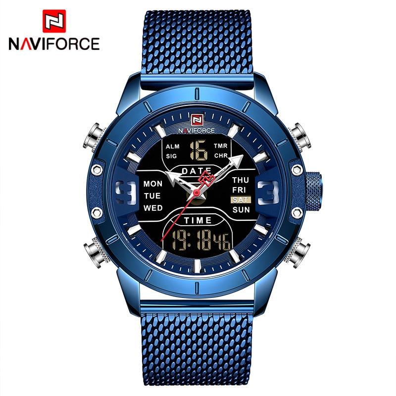 NAVIFORCE hommes montre Top marque de luxe homme Sport militaire montres à Quartz en acier inoxydable LED horloge numérique Relogio Masculino - 2