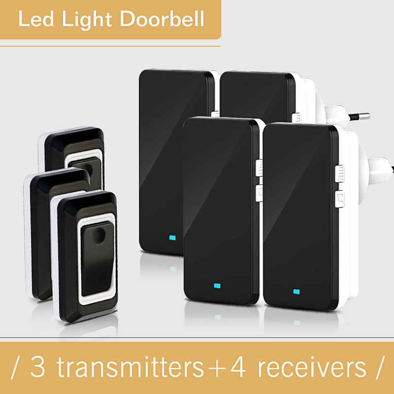 EU/US/UK/AU Plug Waterproof Electric Door Bell Wireless 28 Ring Bell Doorbell Button 3 Out Transmitters + 4 Doorbells Receivers kinetic cordless smart home doorbell 2 button and 1 chime battery free button waterproof eu us uk wireless door bell