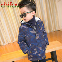Chifave New Winter Cotton Padded Warm Coat Suit For Kids Boys Hooded Collar Zipper Camouflage Pattern