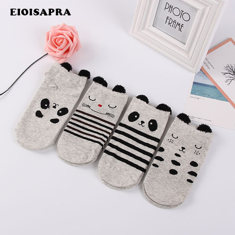 [EIOISAPRA]Kawaii Animal Cute Meias Striped/Dot Panda Pattern Funny   Socks   Women Cartoon Sokken Creative Female Calcetines Mujer