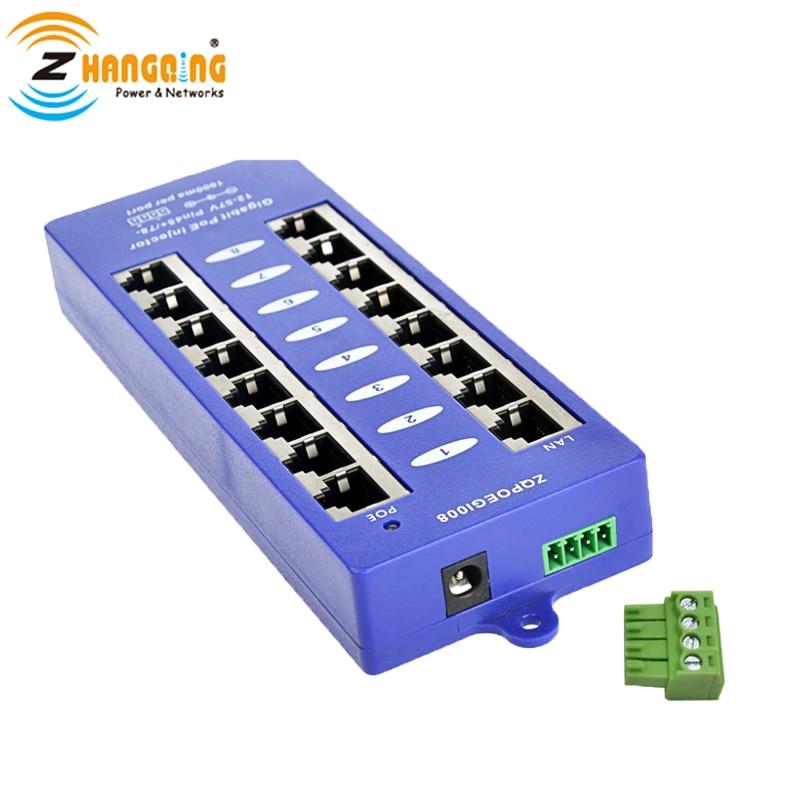 Free Ship Mode B Security Gigabit 8 Port PoE Injector 802.3af PoE Patch Panel For 48v Or 24V  Mikrotik And Ubiquiti