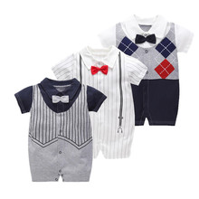 2019 new Newborn Baby Romper Infantil Clothes Striped Short summer baby boy clothes gentleman 1st birthday party infant clothing