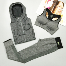 three-piece suit Women Seamless Sports Bra coat hooded Stretch Running Pants suits Fitness Gym Workout Sportswear Exercise Sets