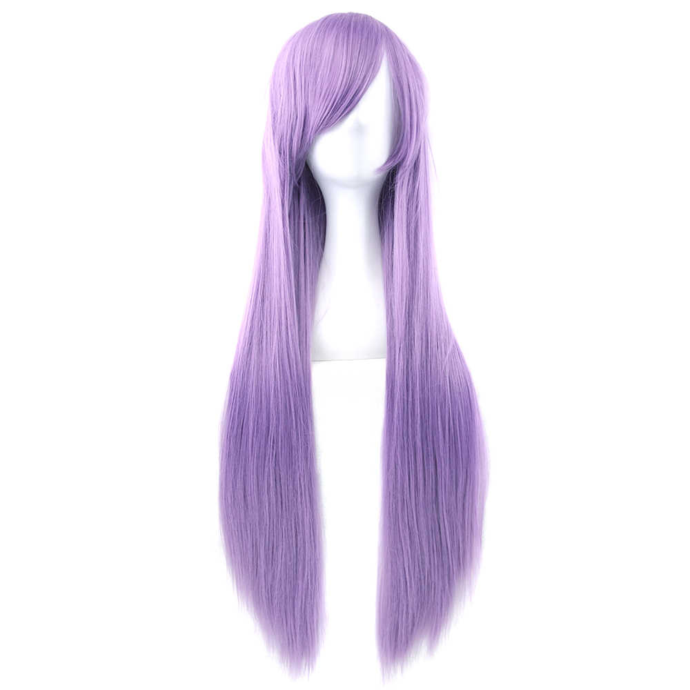 Soowee 24 Colors 80cm Long Straight Synthetic Hair Purple Gray Wigs Heat Resistant Fiber Party Cosplay Wigs Hair Accessories