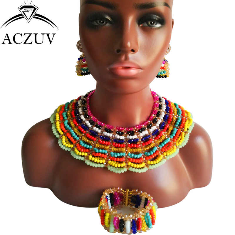 ACZUV Brand Multi Color Jewelry Set Multicolor Set Jewelry African Beads Necklace Earrings Bracelet AS022 free shipping new products rt809h emmc nand flash extremely fast universal programmer rt809h better than rt809f 25 adapters