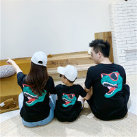 Family Matching Outfits Summer Dinosaur Printed Cotton Short Sleeve T shirt Family Look Mother Daughter Father Baby Son Tees