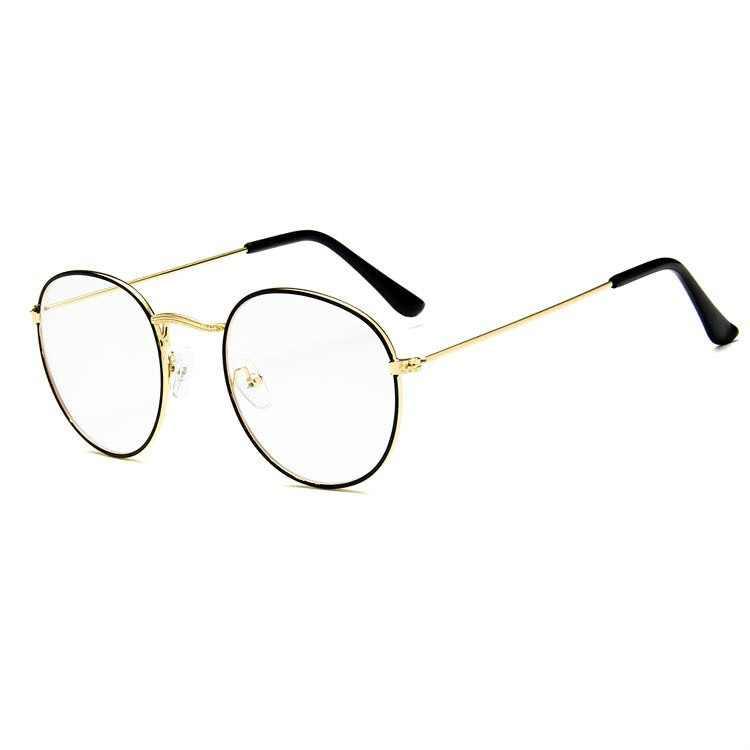9a35747b77a6 ... Round Glasses Frame Woman Men Glasses Retro Myopia Optical Frames Metal  Clear lens Black Silver Gold ...
