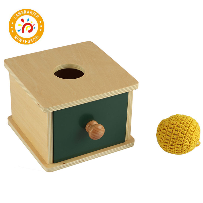 Montessori enfants jouet haute qualité bois Imbucare boîte avec tricot ballpréscolaire formation