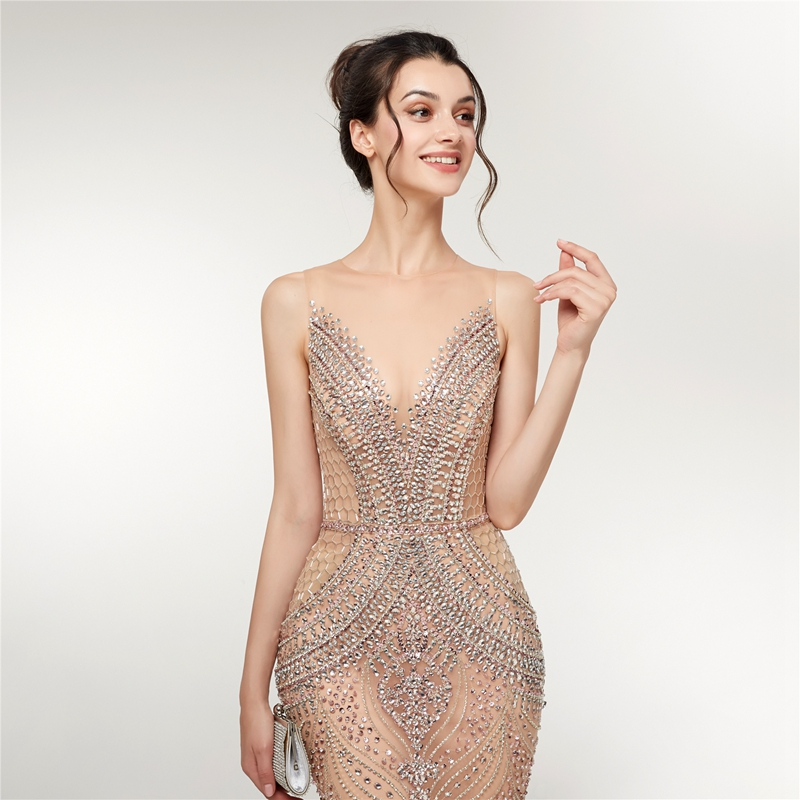 Mermaid Evening Dress 2019 New champagne Luxurious Sleeveless Formal Party Gown Beading Crystal Sequined Tull vestido de festa