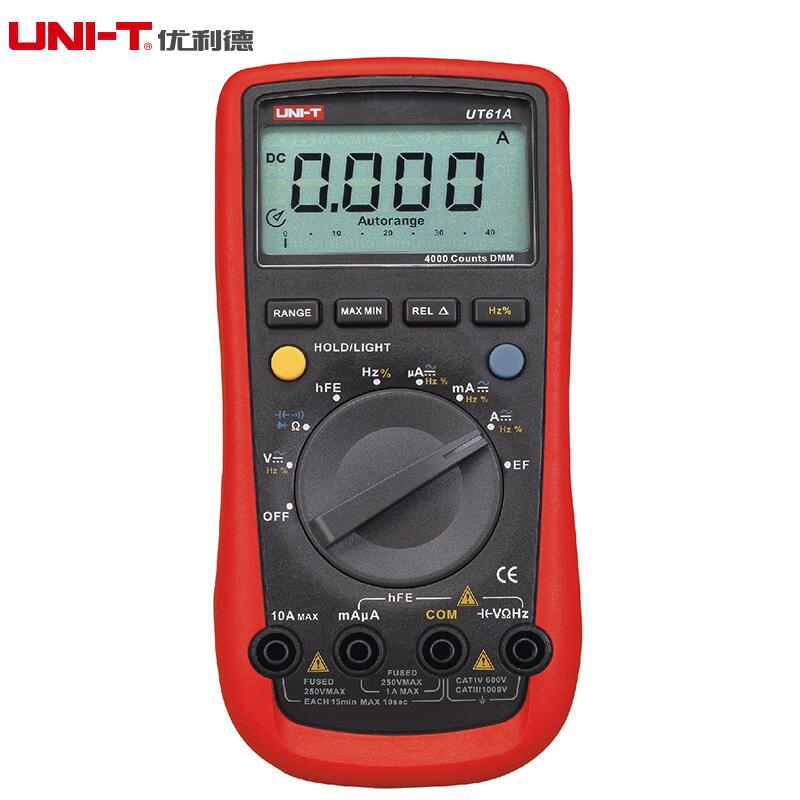 UNI-T UT61A Digital Multimeter Modern DMM Transistor NCN Tester Voltage Current Resistance Frequency Meter LCD Back-light