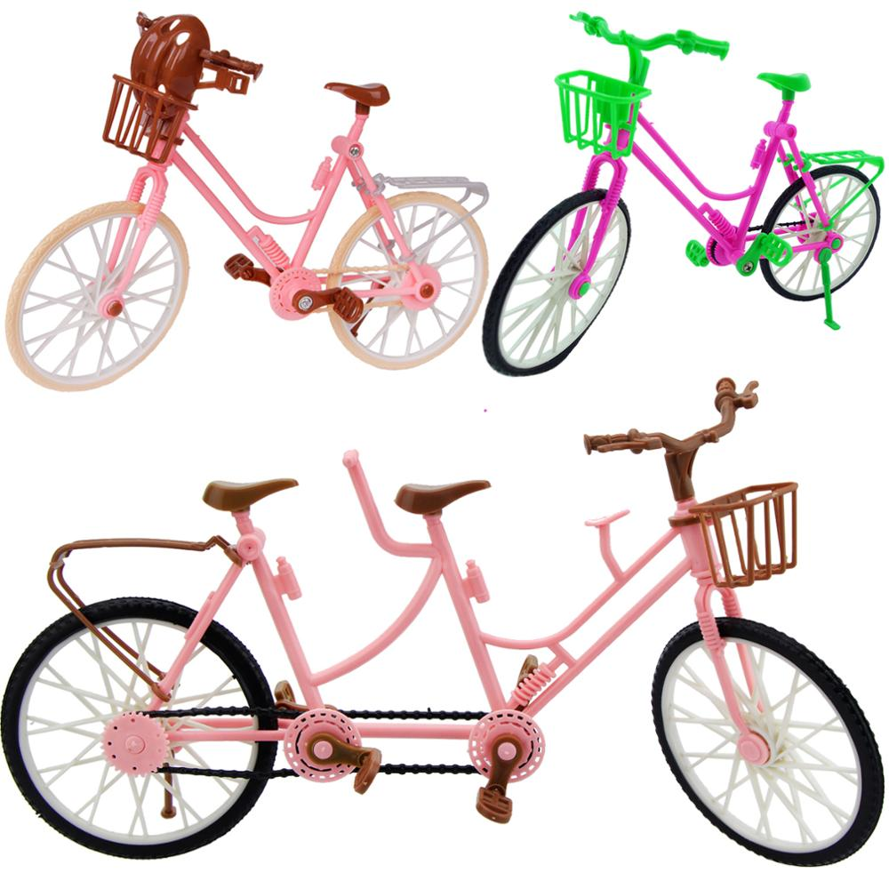 High Quality Plastic Bicycle Beautiful Pink Bicycle Detachable Bike One-seat And Three-seat DIY Accessories For Barbie Doll Toys