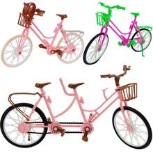 High Quality Plastic Bicycle Beautiful Pink Bicycle Detachable Bike One-seat And Three-seat DIY Accessories For Barbie Doll Toys(China)