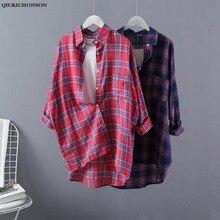 Qiukichonson Plaid Plus Size Women Long Shirt 2019 Spring Low High Design Ladies Tops Turn Down Collar Casual Long Sleeve Blouse цены онлайн