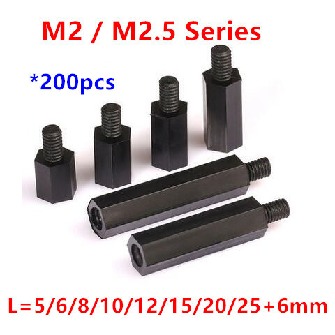 200pcs Thread M2/M2.5 Black Nylon Standoff Spacer Male to Female Column Plastic Long Hex Nut/Screws PCB Pillar