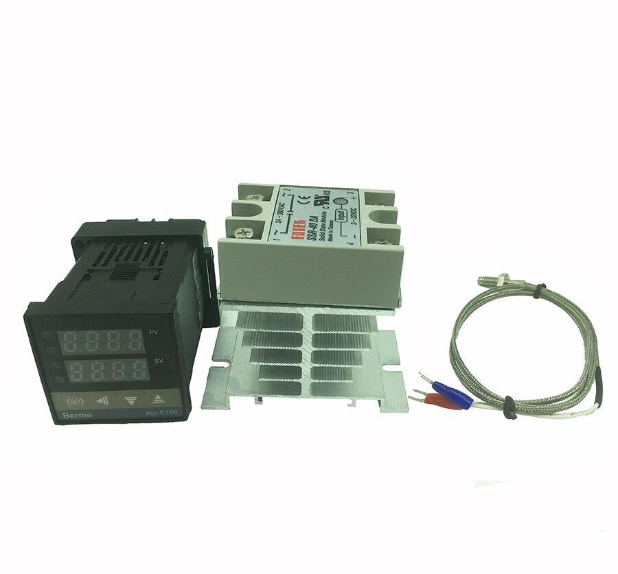 REX-C100 termostato digital controlador de temperatura SSR salida sensor termopar tipo K 48x48 + SSR 40DA relé sólido + sensor