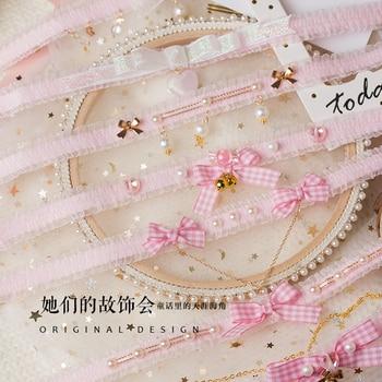 Prinzessin gothic Lolita halskette Rosa serie kragen original handgemachte perle schmetterling knoten weichen schwester herz tag Halsband GSH209