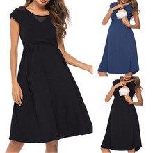 Платья для беременных, кормящих грудью, сексуальное платье для кормящих, короткий рукав, однотонное платье для беременных, модная одежда, Ropa Premama, летняя одежда