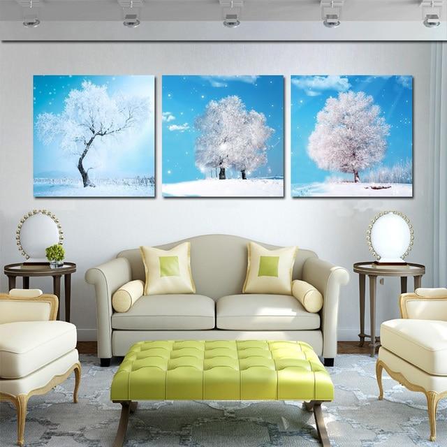 Realist Gemälde Leinwand Malerei Weiß Baum Winter Landschaft Wand Bilder  Für Wohnzimmer Dekoration Set Von 3