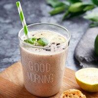 1 Piece Glass Cup 400ml Large Handmade Glass Mug Brief Style Good Morning Breakfast Milk Cup