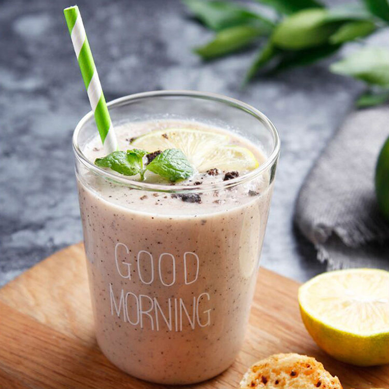 400ml Σύντομο ύφος Κύπελλο γυαλιού Πρωινό Ποτά Γάλα Smoothie Κούπα Cup Bar Μπύρα Καφές Τσάι Γυαλί Πόσιμο Κύπελλο Fancy Drinkware Δώρο