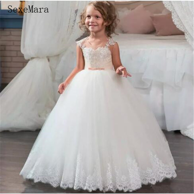 Scoop Neckline Long  Flower Girls Dresses for 2-14 Y Girls Puffy Lace Tulle  Prom Dress for Children First Communion Gowns