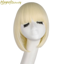 "Short Straight Synthetic Hair 12"" Light Blonde Bob Wig For Black Women Heat Resistant Costume Party Cosplay Wigs MapofBeauty(China)"