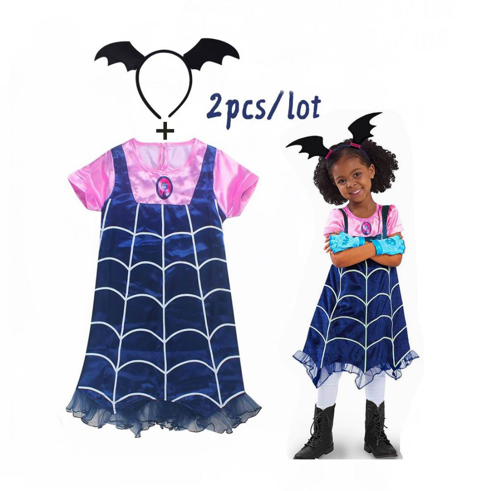 Vampirinas Cosplay Costumes Girls Dresses And Hair Hoop 2PCS Kids Party Dress For Girl Streetwear Christmas Clothes Fancy Dress