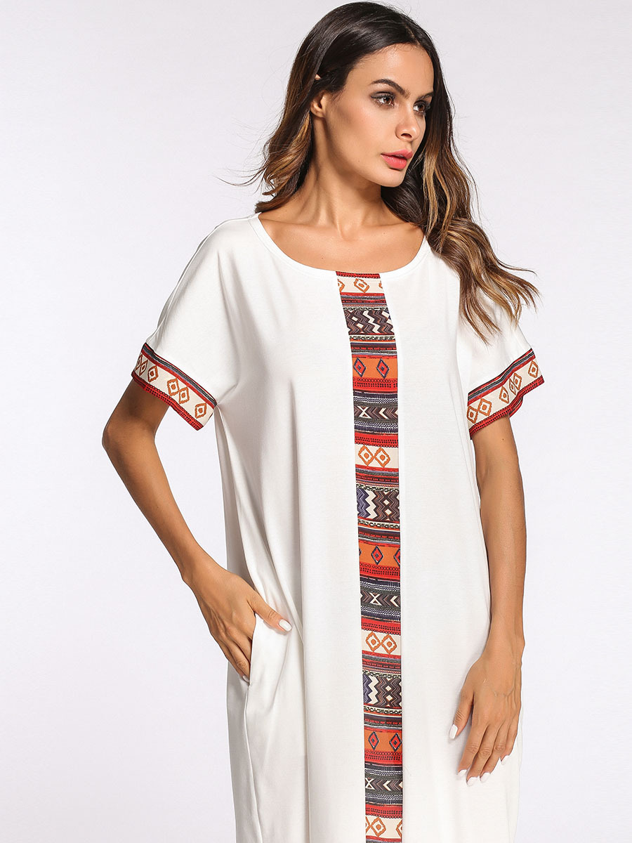 Women's Nightgown Long Plus Size Short Sleeve Patchwork Nightdress Casual Home dress Sleepwear Dress Arabic Women Gown M-4XL 1
