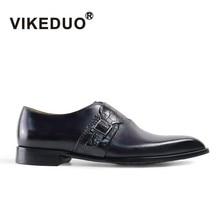 Vikeduo 2019 Handmade Vintage Fashion Luxury Office Wedding Party Dance Brand Male Shoe Genuine Leather Men's Monk Dress Shoes